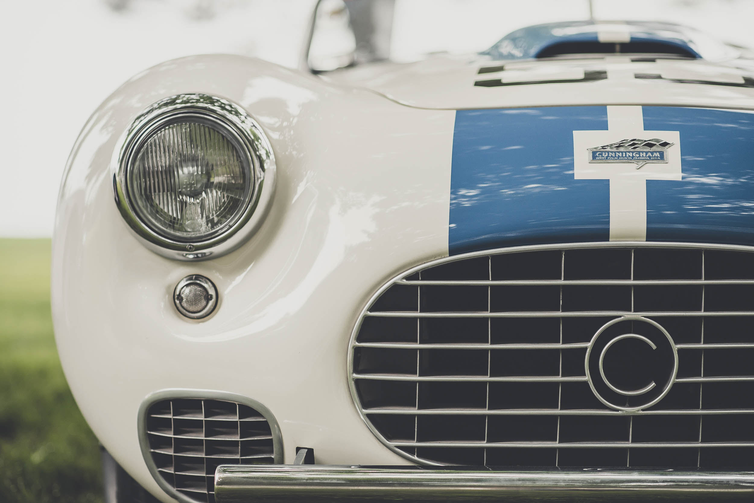 white blue cunningham front detail
