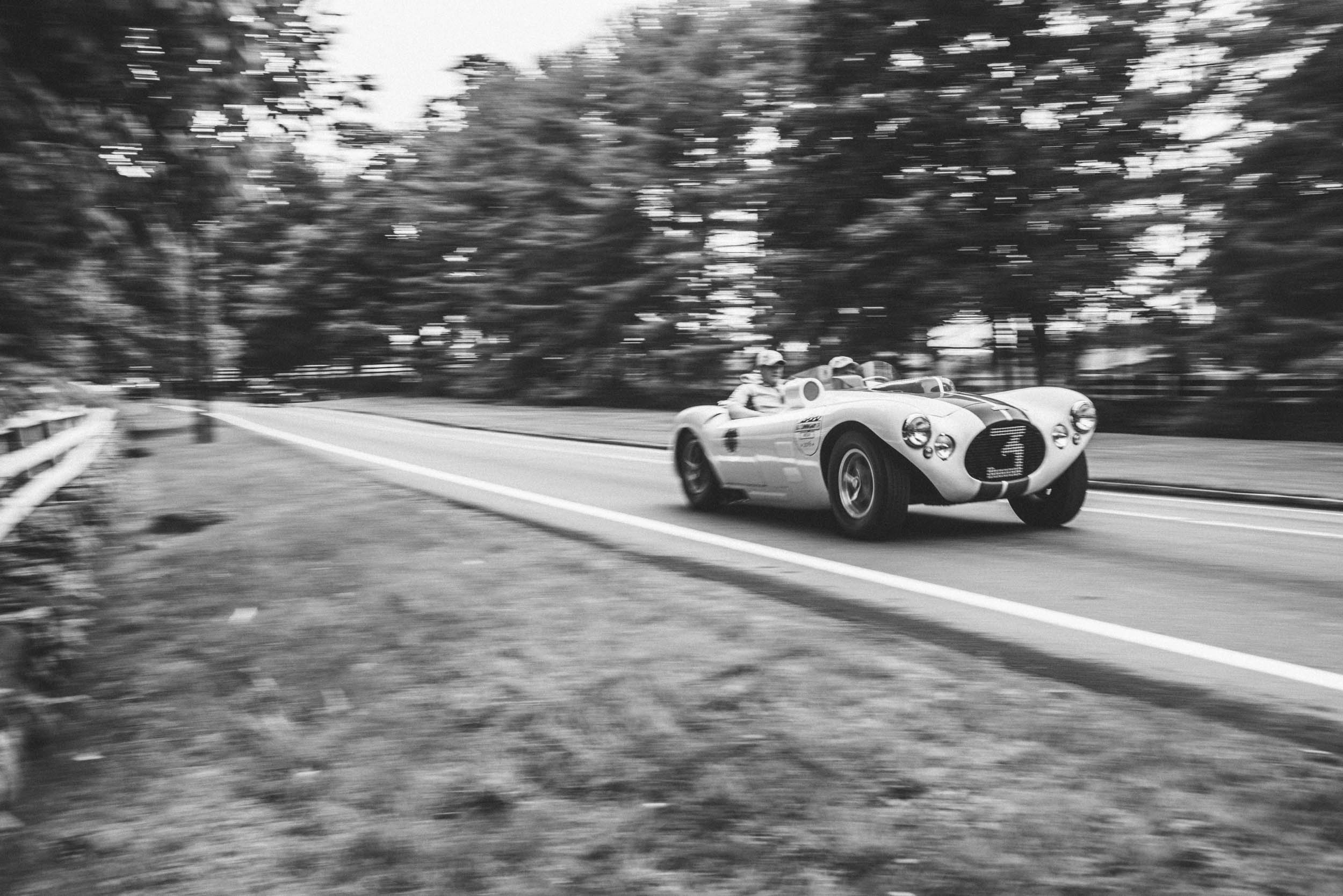"""The '54 Le Mans effort included this C4R, which had engine trouble. At Le Mans, Briggs said, """"It's not a question of how fast you go but how slow you dare to go to save the motor and still keep your standing."""""""