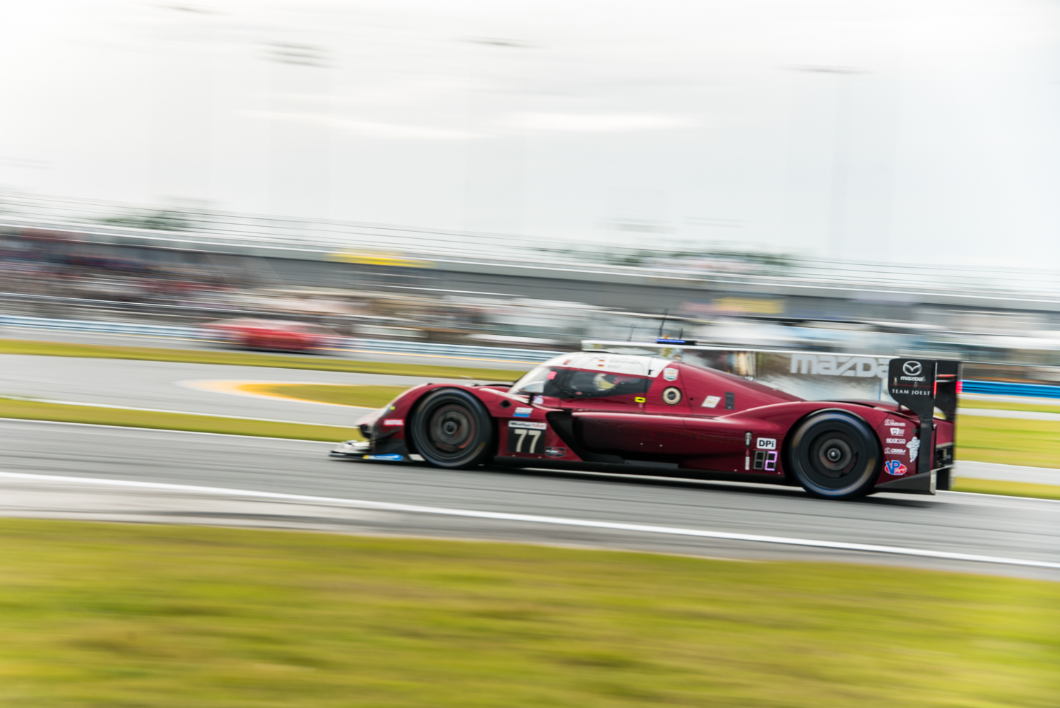 Oliver Jones broke the Daytona road course track record during qualifying in this Mazda DPi. The previous record was set by P.J. Jones way back in 1993. Both Mazda teams were plagued with mechanical issues about halfway through.