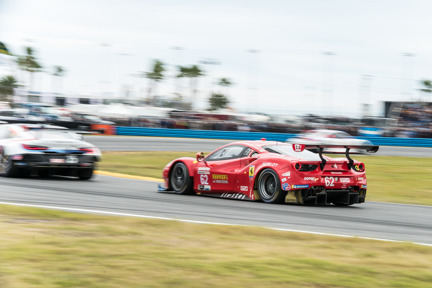 This red Ferrari 488 GTE, pictured in the opening laps, was in the scrum for the lead throughout the entire race and finished second in its class.