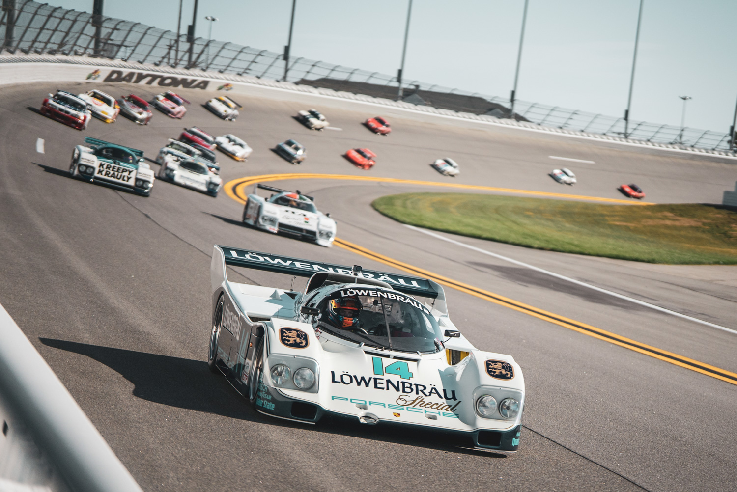 The morning before the big race, Daytona organized a vintage exhibition replete with multiple Porsche 962s.