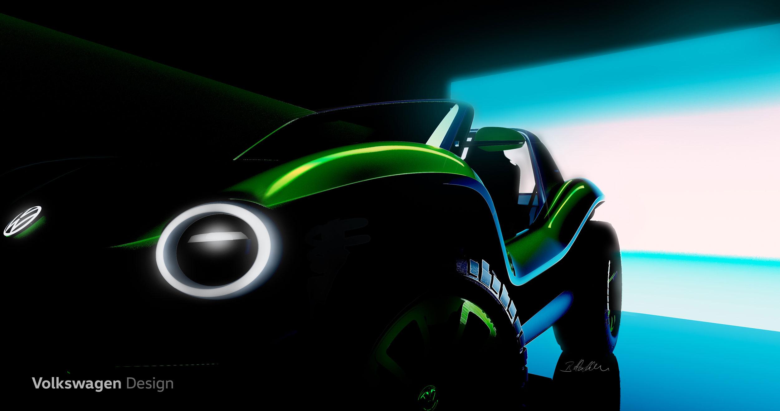 Volkswagen electric Dune Buggy concept headlight detail