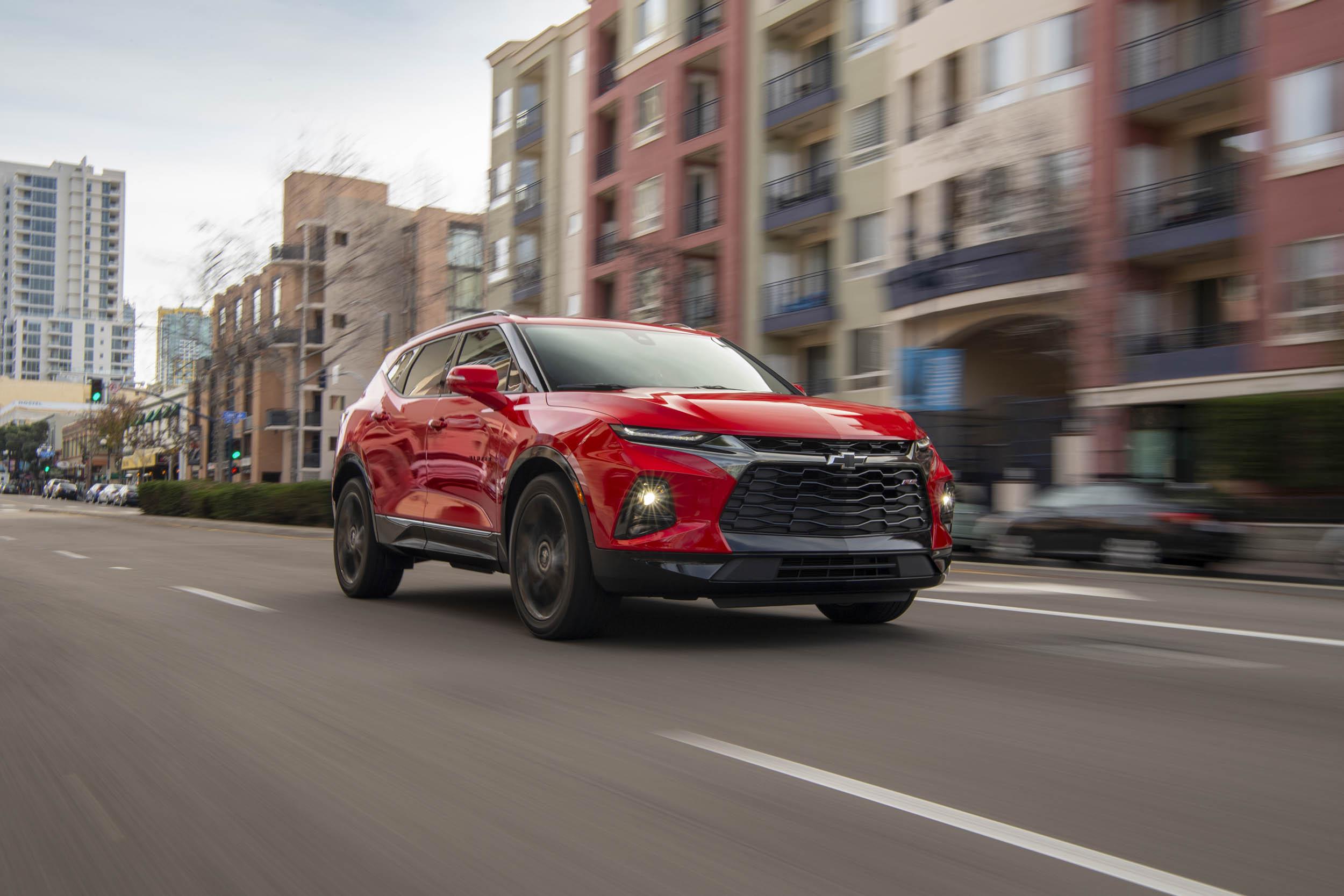 red 2019 Chevrolet Blazer driving