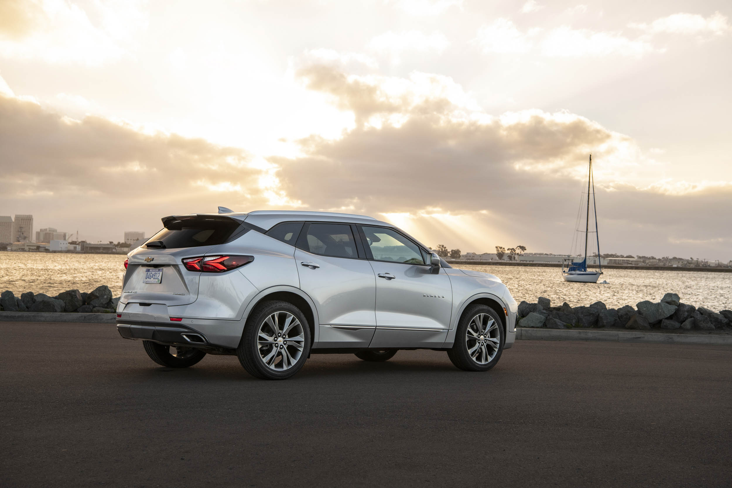 Silver 2019 Chevrolet Blazer rear 3/4 by the water