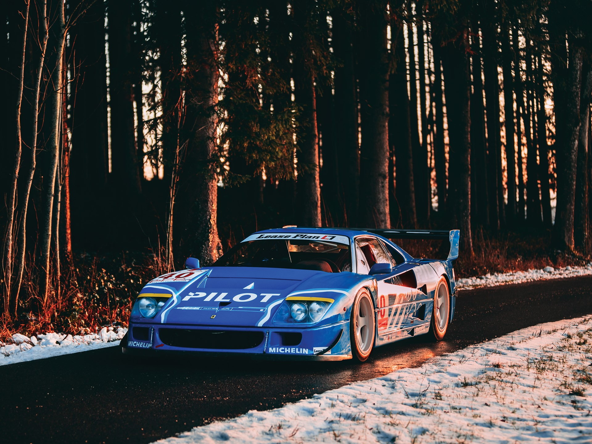 1987 Ferrari F40 LM 3/4 front snow sunset