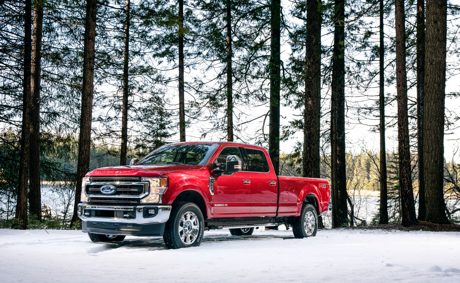 2020 Ford F-250 Super Duty snow 3/4 front