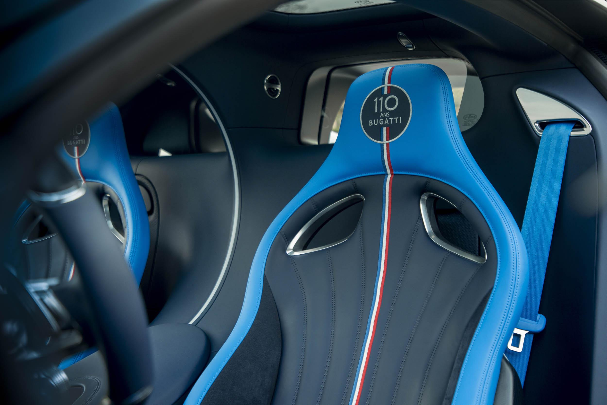 "Bugatti Chiron Sport ""110 ans Bugatti"" seat detail"