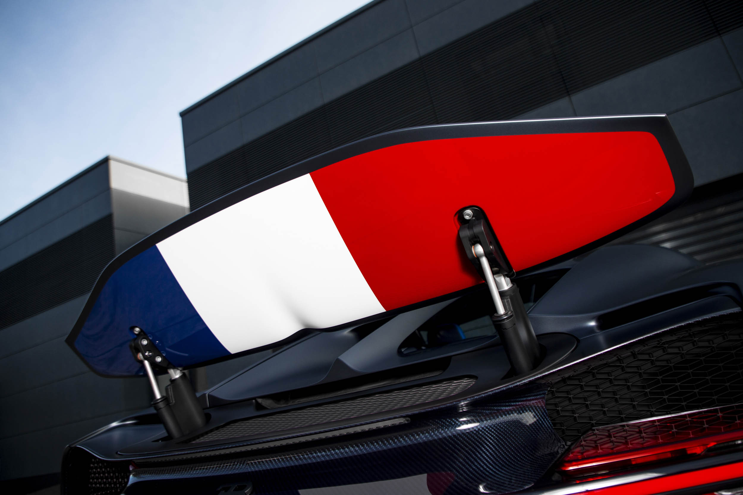 "Bugatti Chiron Sport ""110 ans Bugatti"" french flag under the spoiler"