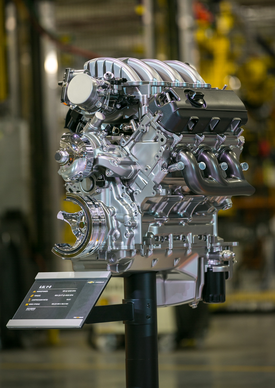GM's all-new gas-powered 6.6-liter V-8 3/4 front
