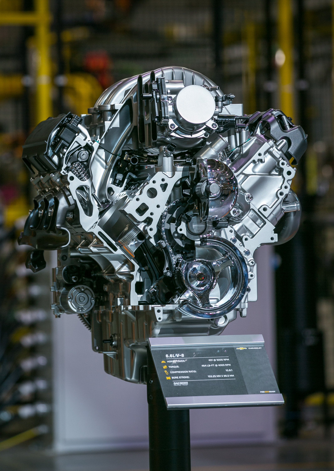 GM's all-new gas-powered 6.6-liter V-8 Front view