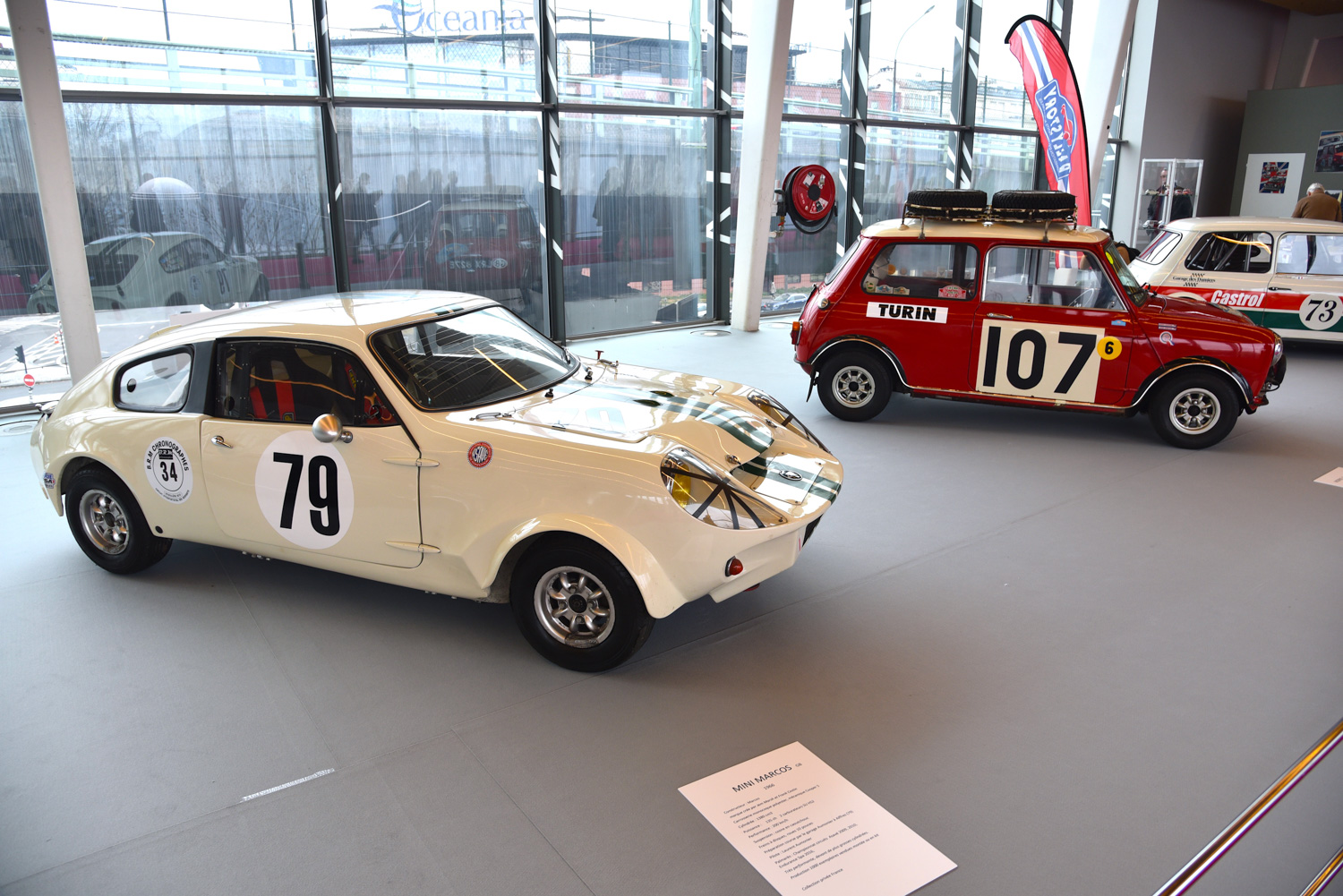 Also celebrated at Retromobile was the 60th anniversary of Mini which included a restored cutaway auto show display of Sir Alec Issigonis's original design, and a Mini Marcos, a sports version of the Mini sold in kit form and the only British car to finish the 1966 24 Hours of Le Mans (in 15th place), assuming you're not counting the Ford GT40 as a British car.