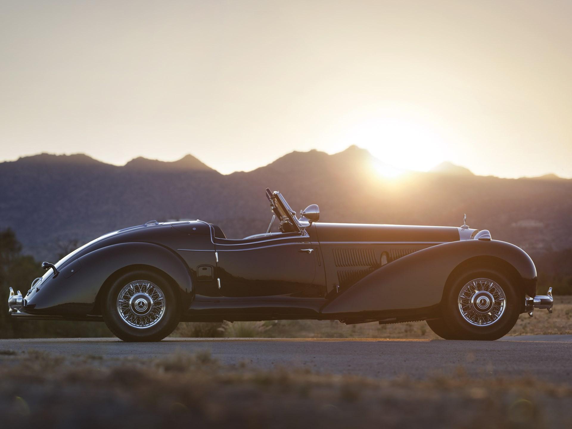 1939 Mercedes-Benz 540k side profile sunset