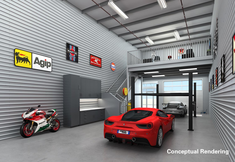 Monterey Motorsport Park / Caleb Scherer garage inside ferrari