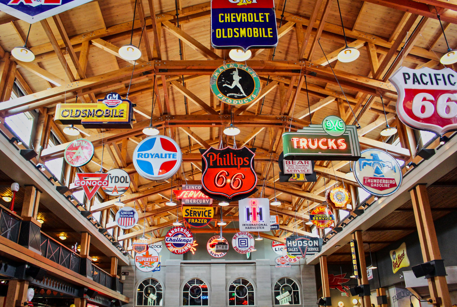 Gasoline Alley signs from ceiling