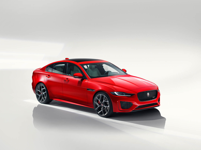 red 2020 Jaguar XE front 3/4
