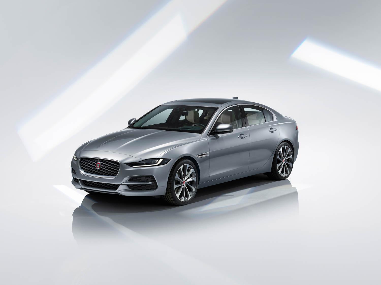 silver 2020 Jaguar XE front 3/4