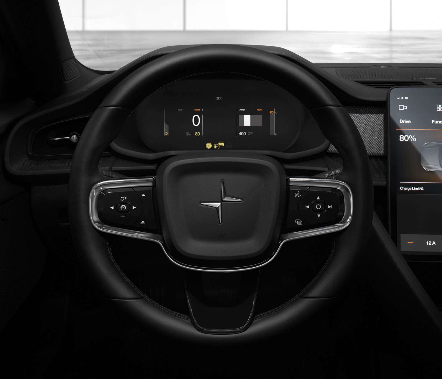 Polestar 2 steering wheel and gauges