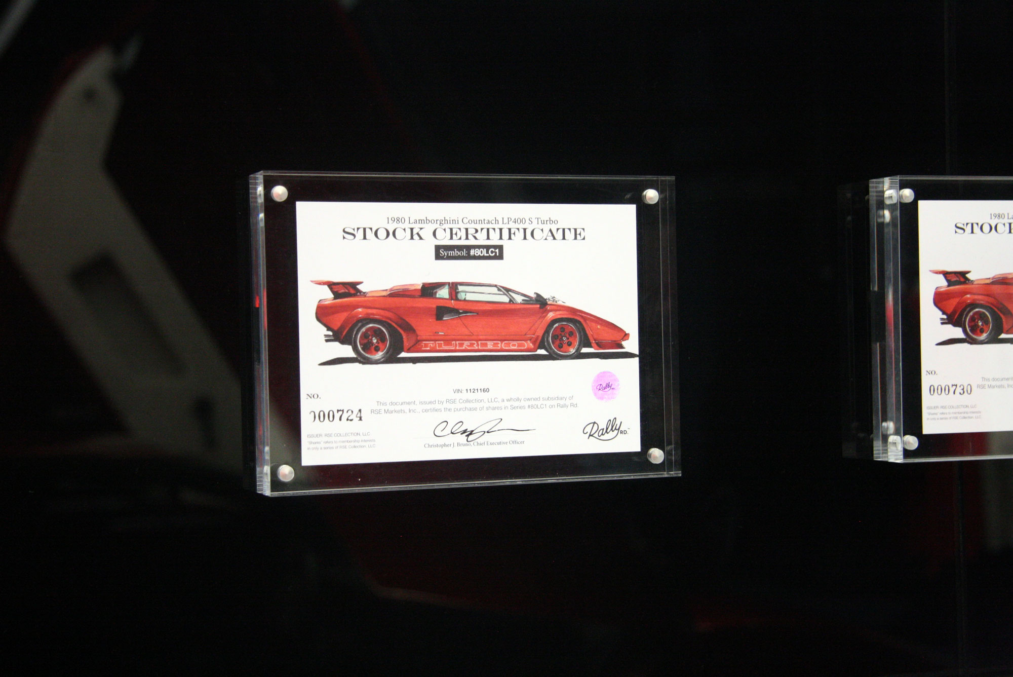 1980 Lamborghini Countach LP400 S Turbo plaque