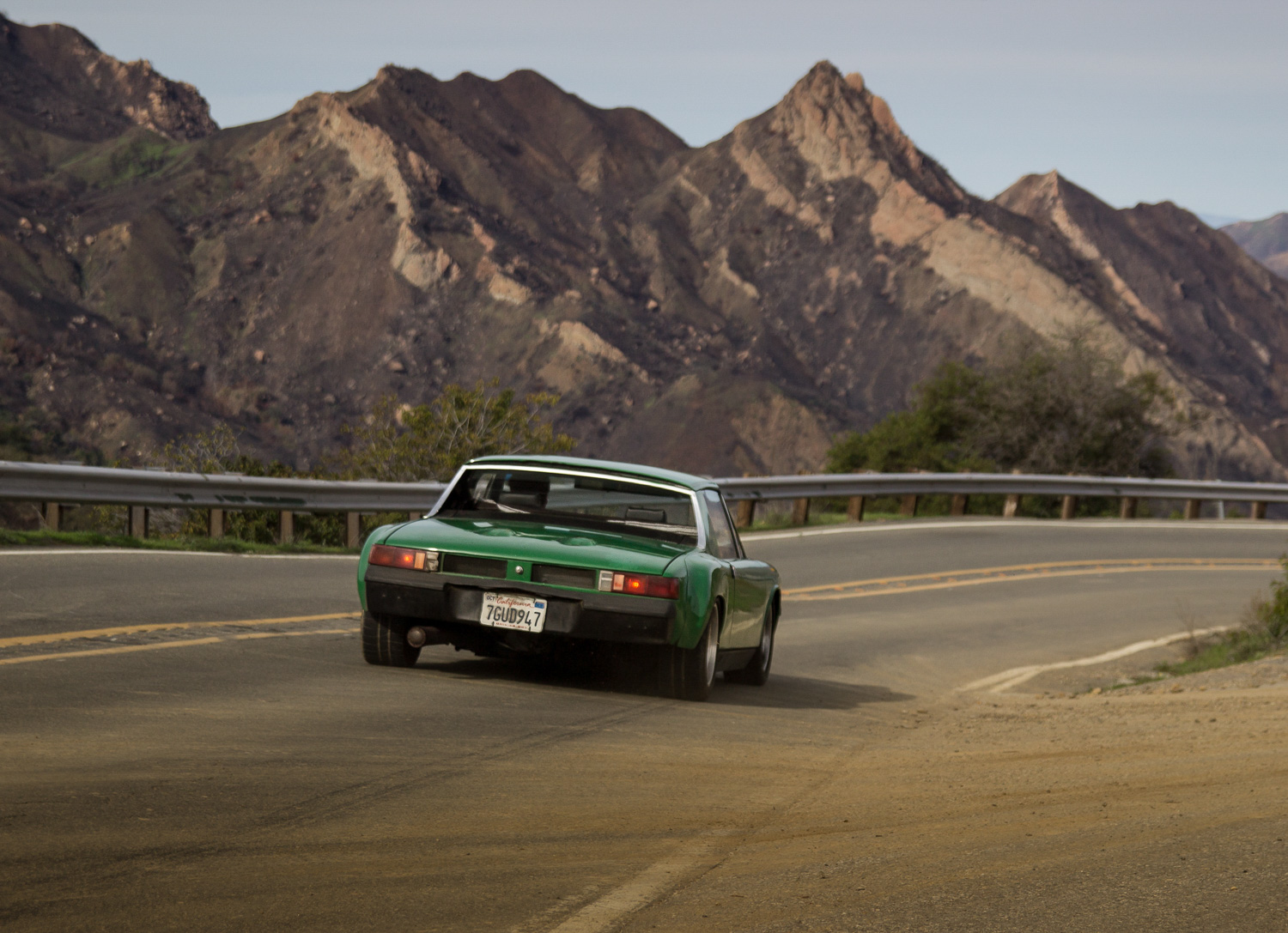 1974 Porsche 914 rear driving mountain