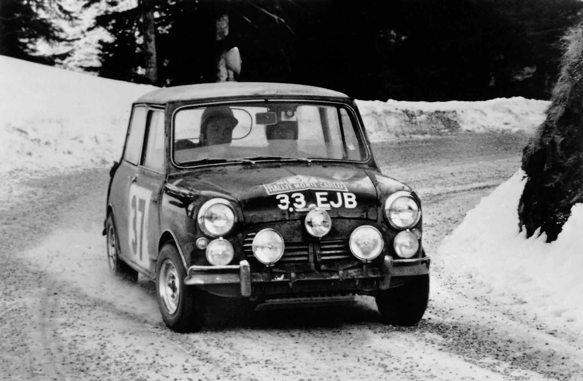 Paddy Hopkirk driving a Mini Cooper S in the 1964 Rallye Monte Carlo