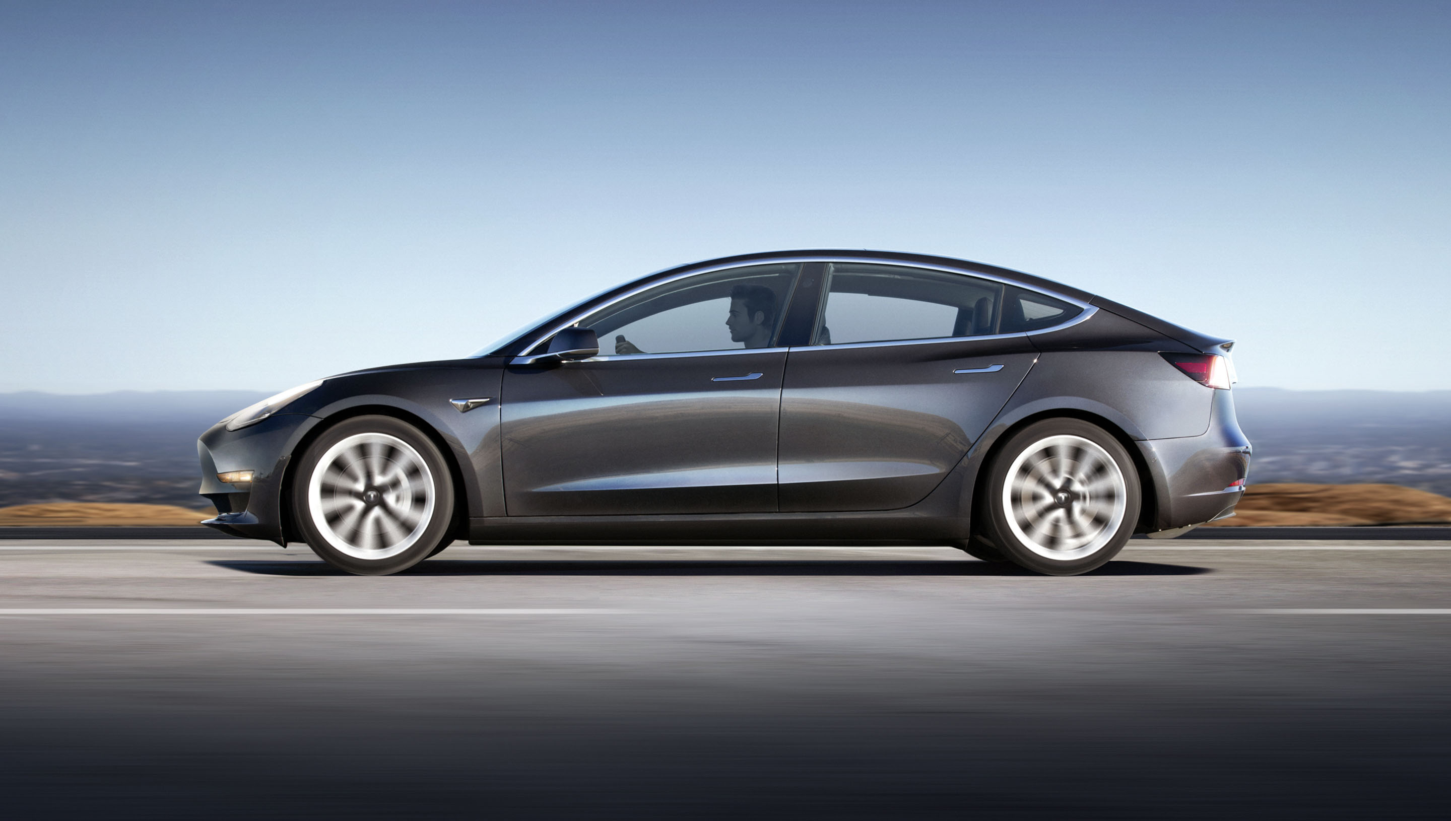 Tesla Model 3 profile side gray