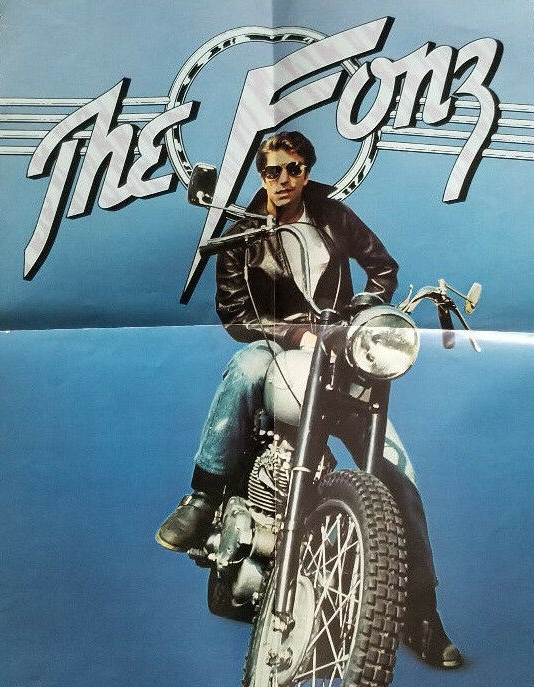 A popular poster from the 1970s showing Fonzie on the Triumph.