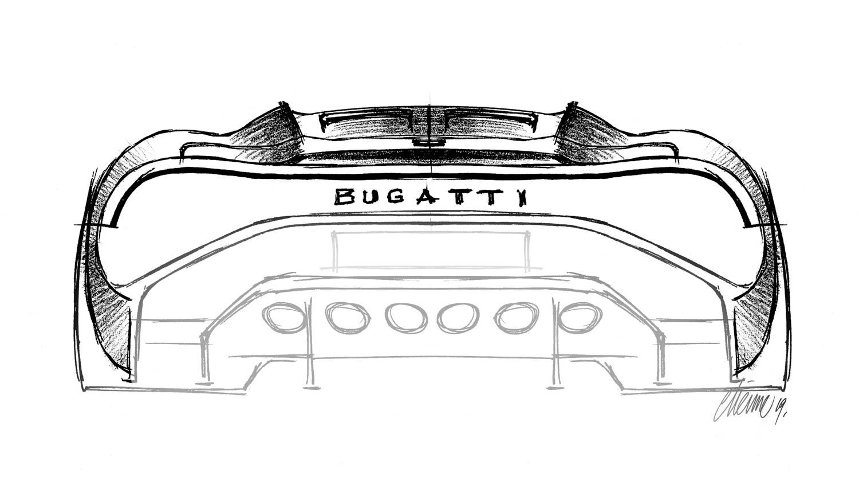 """Bugatti """"La Voiture Noire"""" rear sketch"""