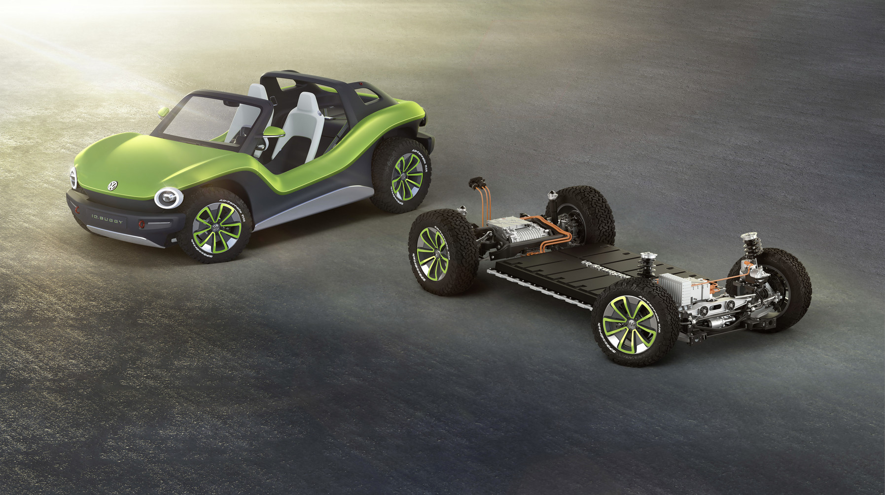 Volkswagen I.D. Buggy next to the electric chassis