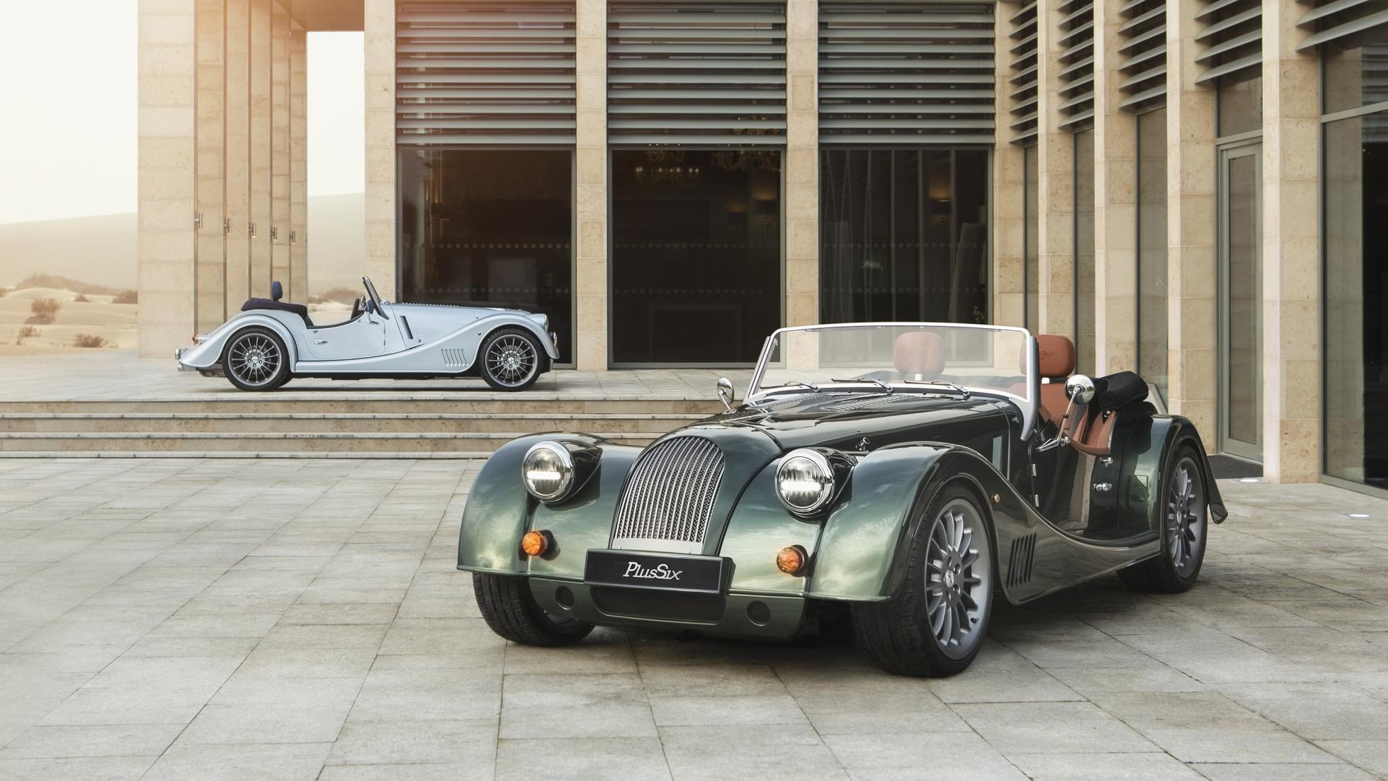 Morgan Plus Six  green and silver