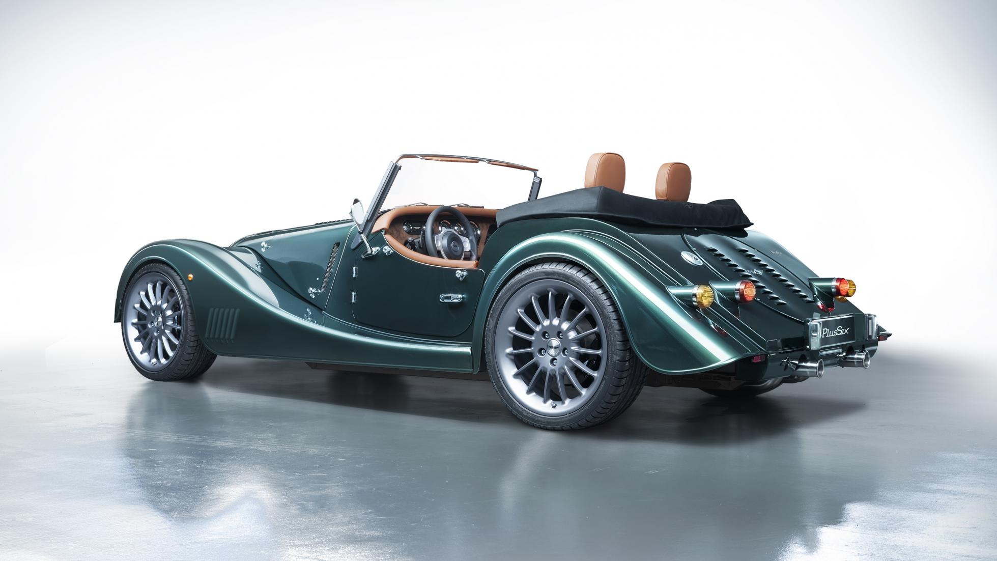 Green Morgan Plus Six rear 3/4