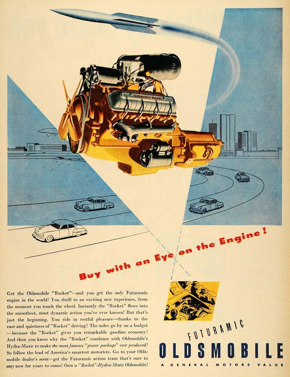 Oldsmobile futuramic rocket engine ad