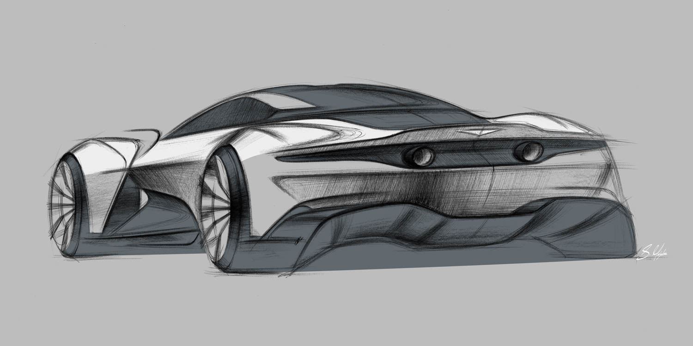 Aston Martin Vanquish Vision Concept sketch rear 3/4