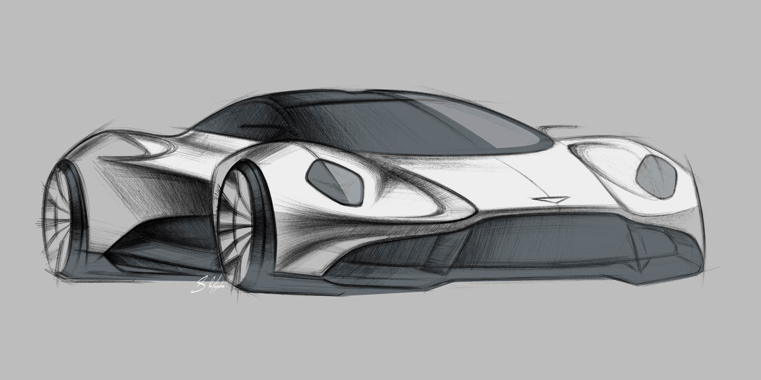 Aston Martin Vanquish Vision Concept front 3/4 sketch