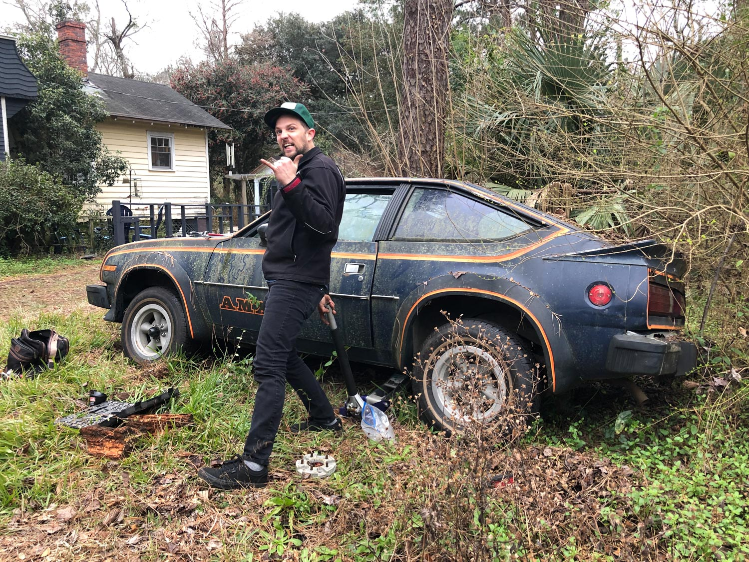 derelict amc amx on two wheels