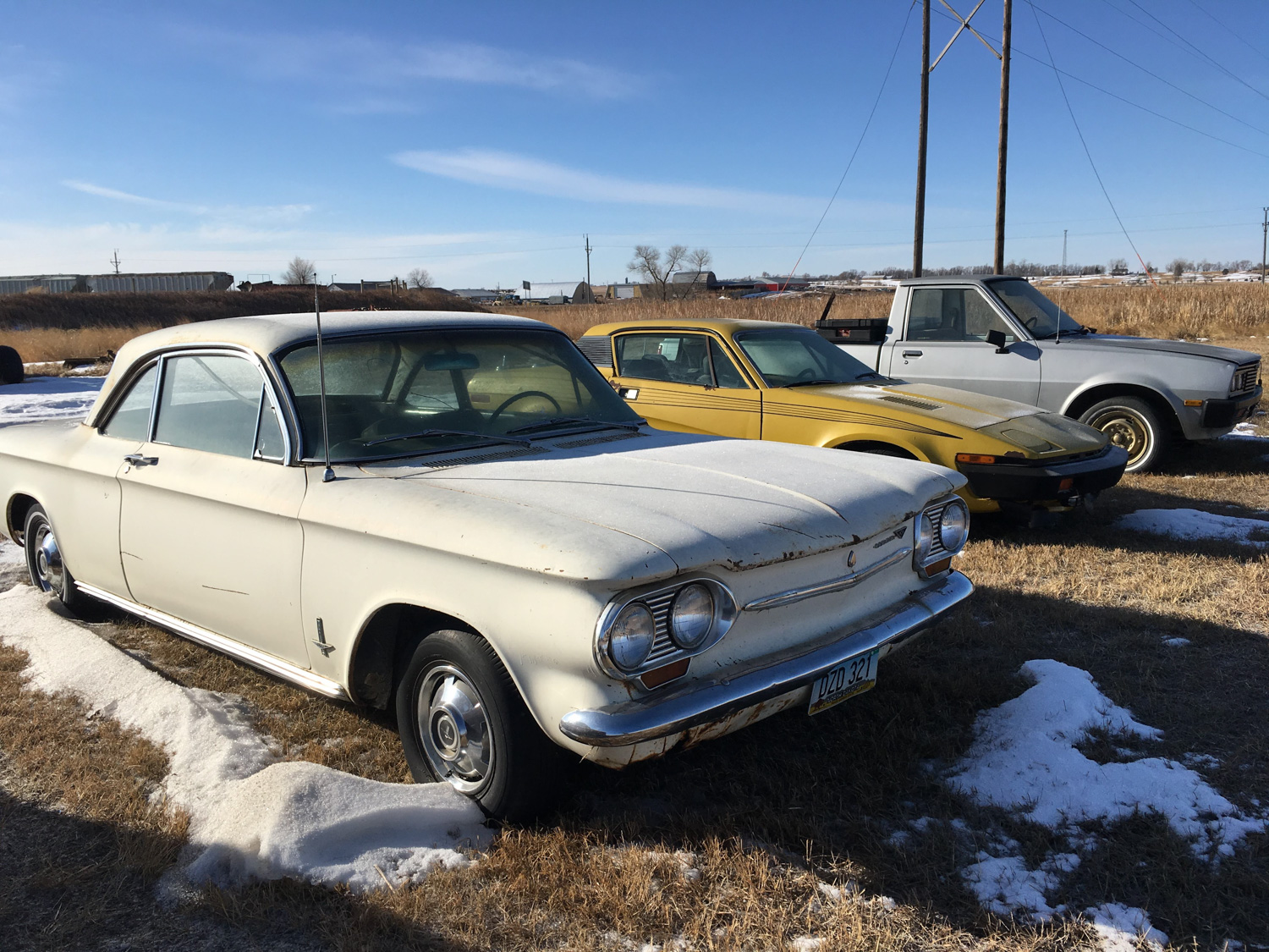 derelict first gen chevrolet corvair