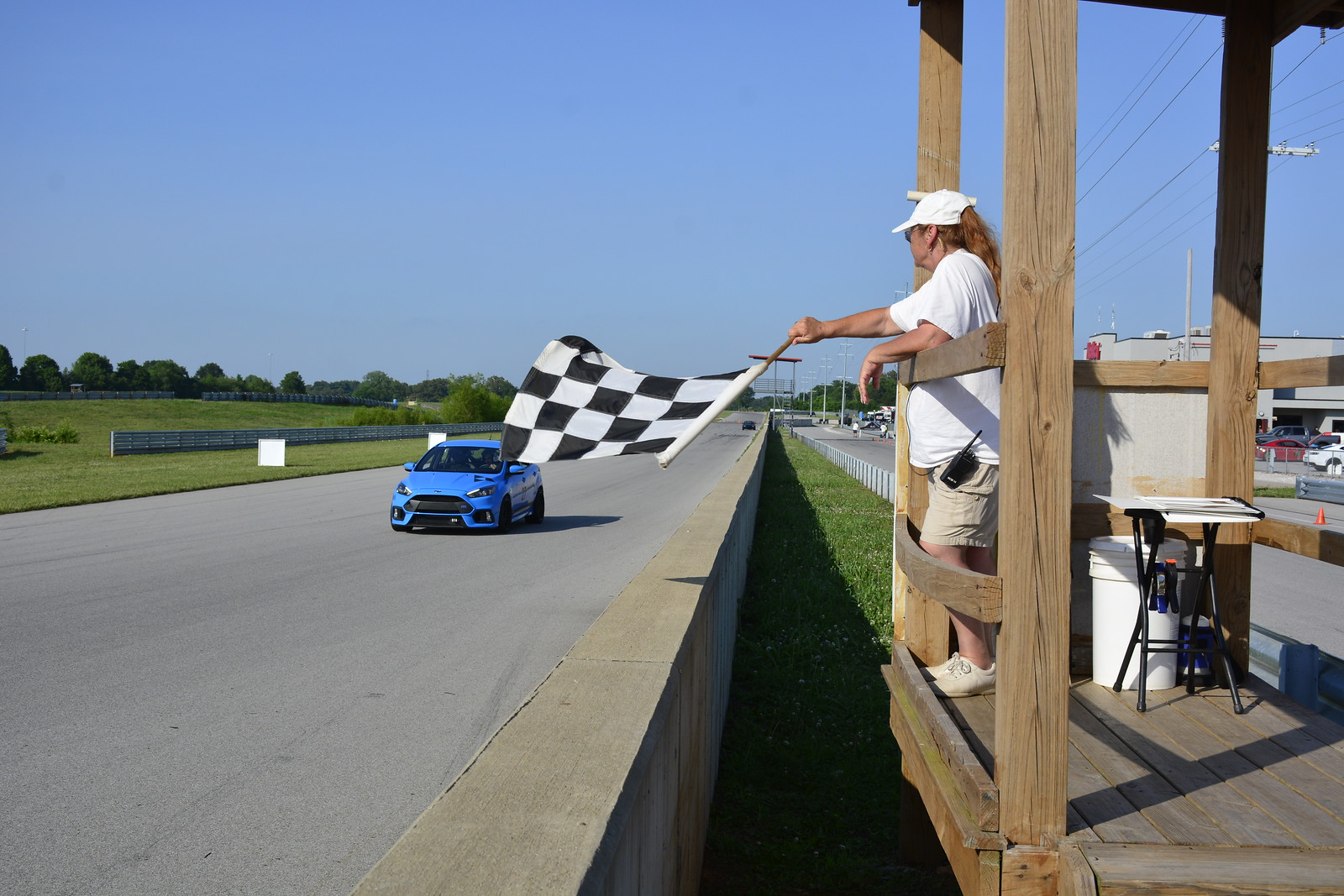 Ford Focus crossing the finish line