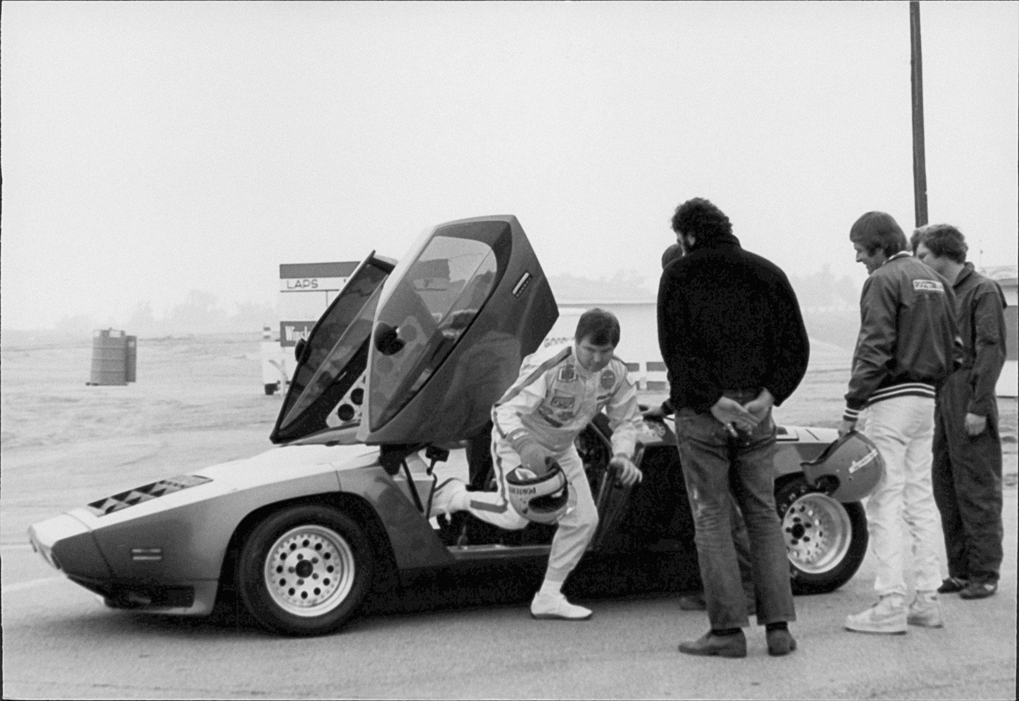 The Vector W2 prototype during initial testing at Riverside International Raceway in 1980. It was the beginning  of a decade- long journey to  production.