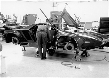One of the first Vector W8 supercars in final assembly at the plant in Wilmington, California, in 1991.
