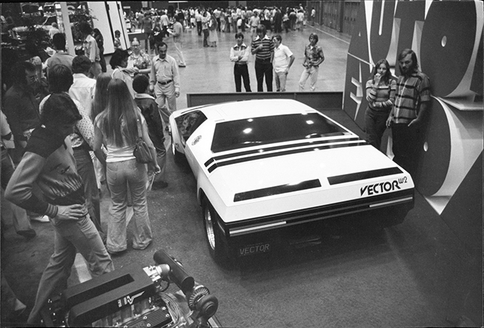 That Seventies feeling: The Vector W2 concept car at the 1976 Los Angeles Auto Expo.