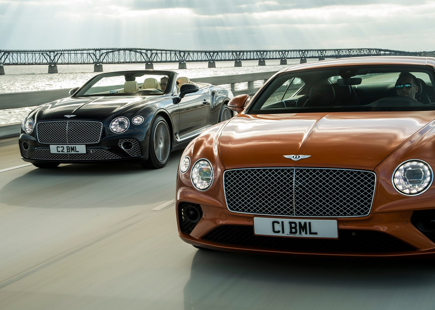 2020 Bentley Continental GT V8 coupe and convertible on bridge