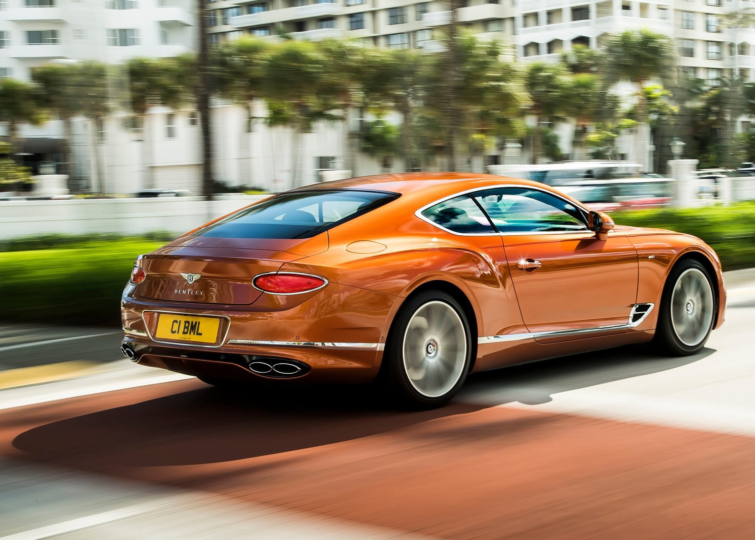 2020 Bentley Continental GT V8 rear 3/4 orange
