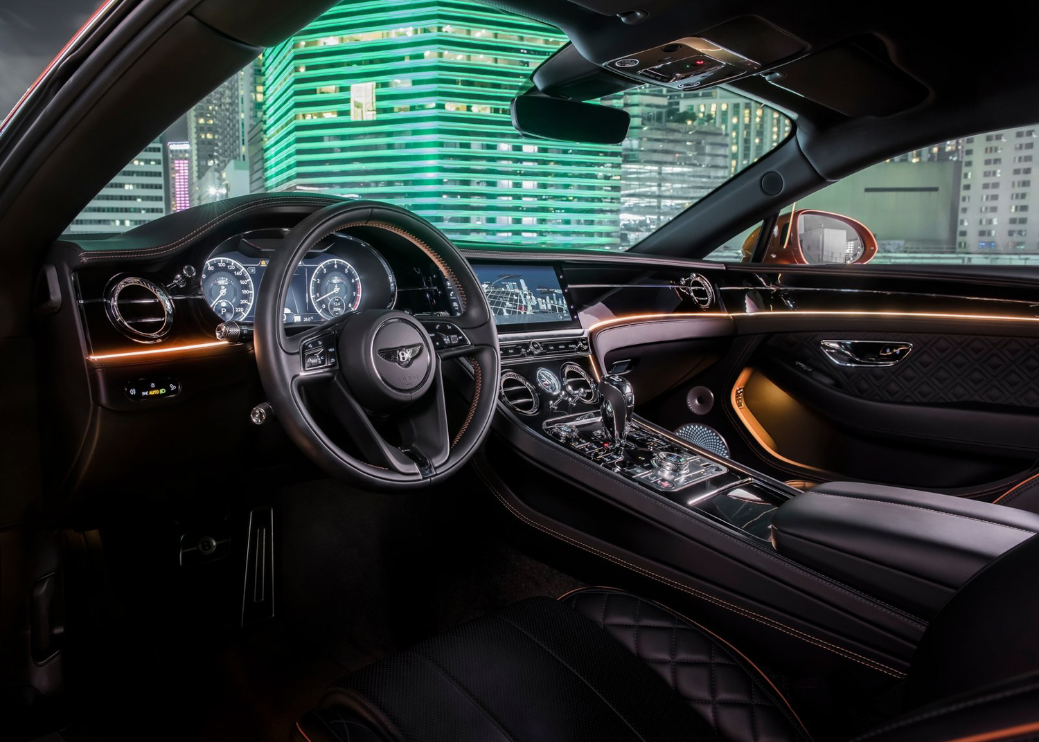 2020 Bentley Continental GT V8 coupe interior orange light