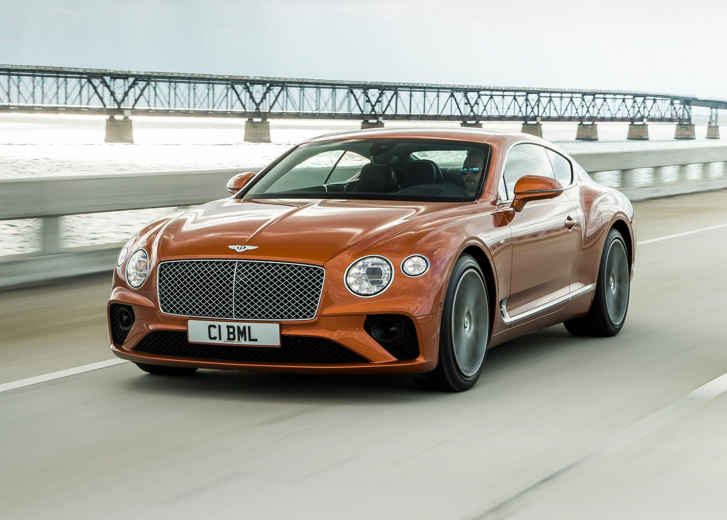 2020 Bentley Continental GT V8 3/4 front orange coupe