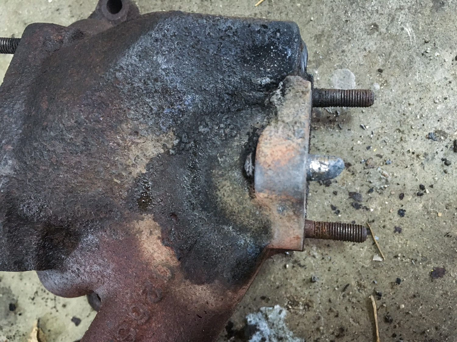 The snapped-off stud after multiple attempts at extraction.