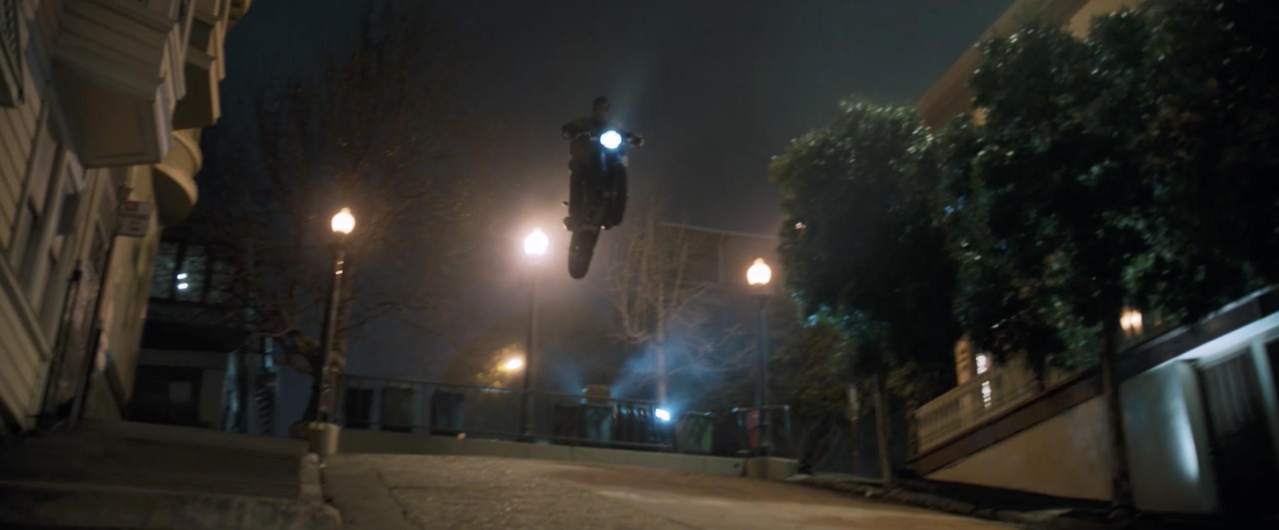 Sony Pictures eddy brock venom bike jump stunt