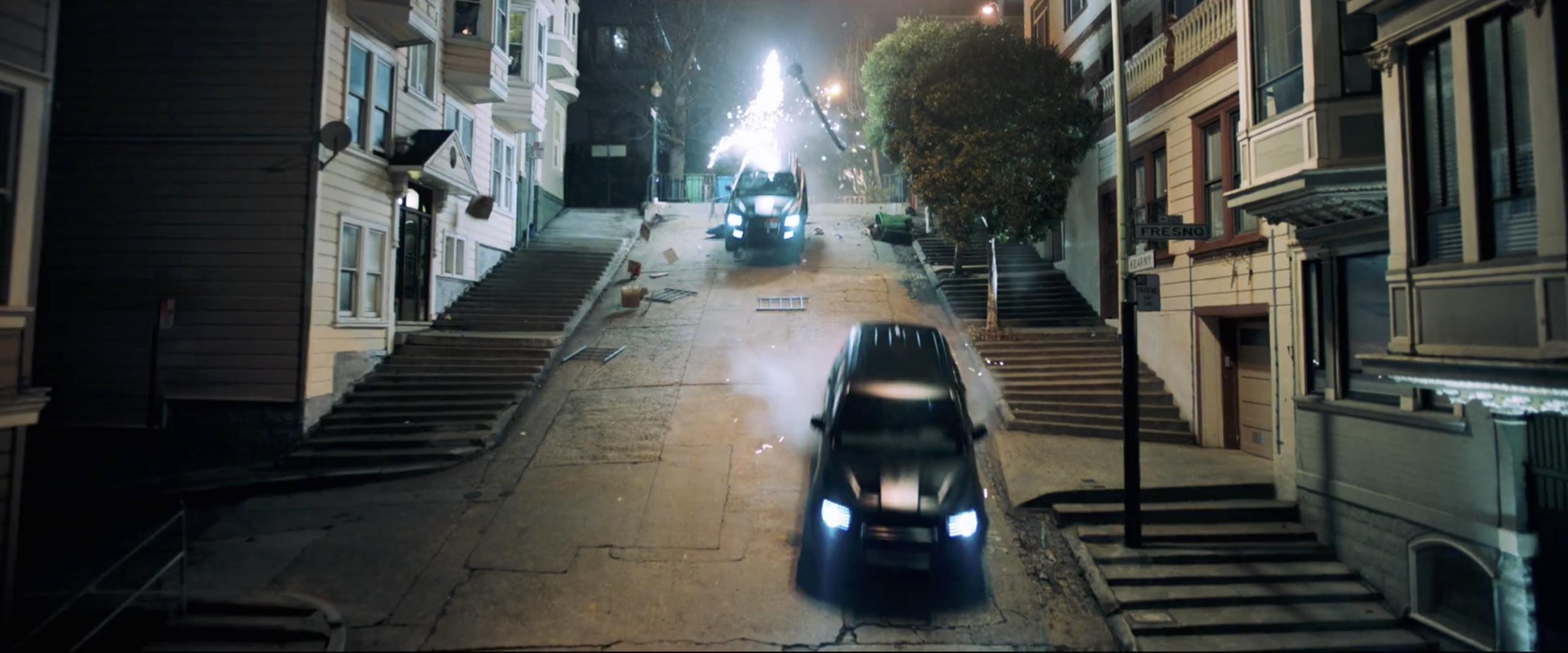 venom black suv car chase