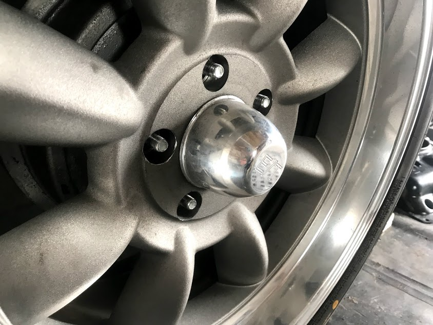 Corvair wheel stud  wheel installed