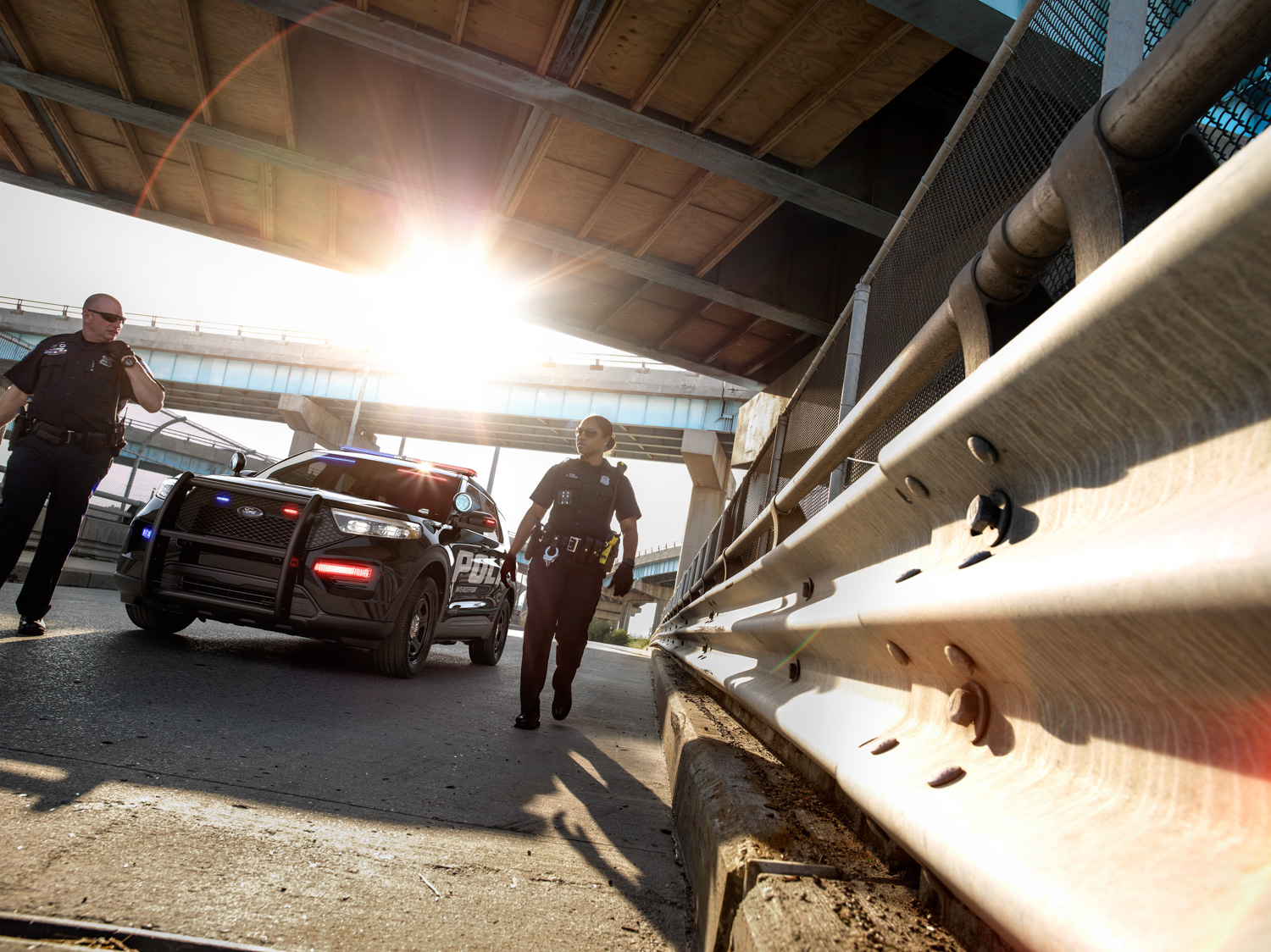 2020 Ford Police Interceptor Utility Hybrid overpass highway