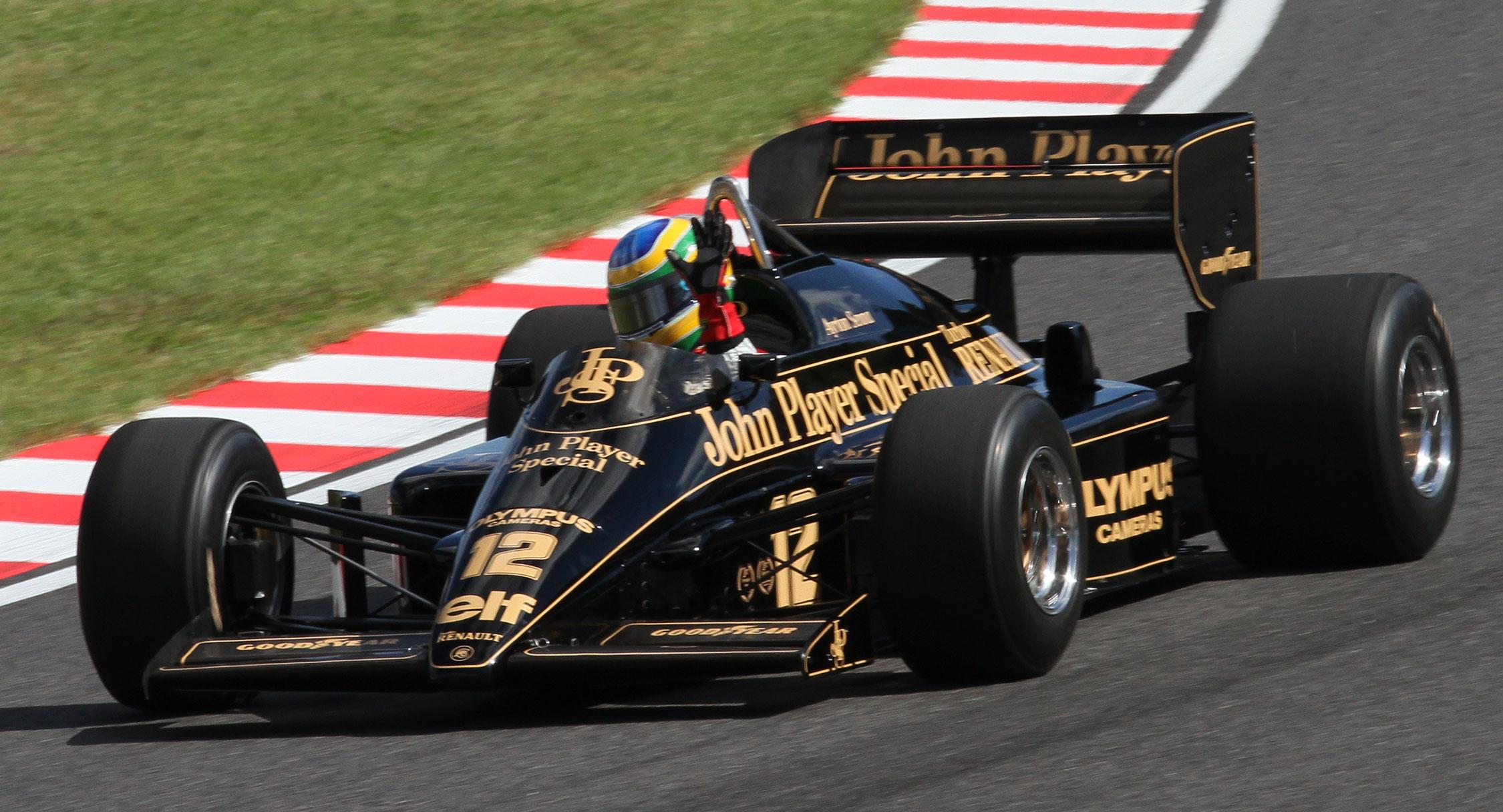 Bruno Senna driving his uncle's Lotus 97T