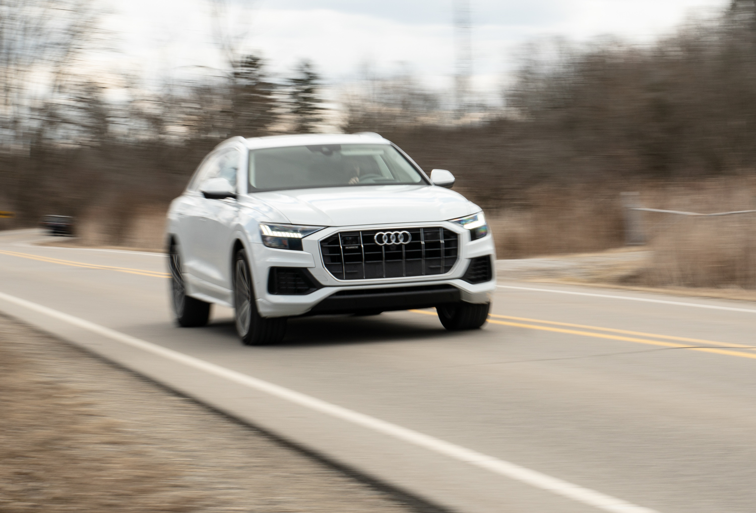 2020 Audi Q8 driving blurred